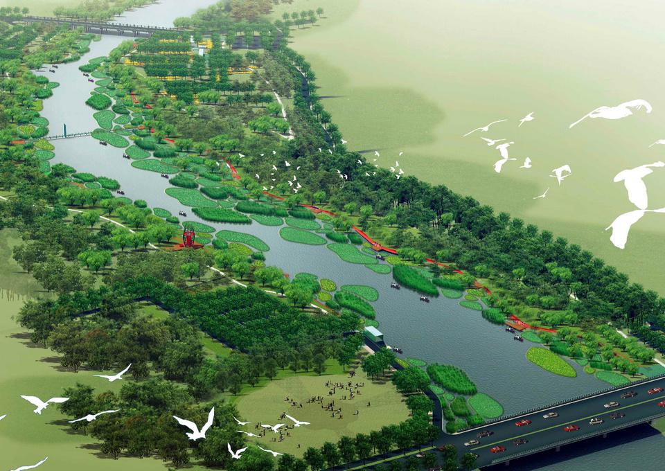 本案例展示了如何用最少的干预,过艺术的介入,使流进城市的河漫滩便成为城市公园。项目中,原有河漫滩的植被和栖息地得到最大限度的保留,在此自然本底之上,引入一条红色飘带---坐凳,并结合架空的木栈道,   1场地与挑战   项目位于河北省秦皇岛市汤河的下游河段,北起北环路海洋桥、南至黄河道港城大街桥,总长达1km左右。设计范围总面积约20公顷。由于上游的山地和下游的防洪蓄水闸,使本地段内的水位保持恒定,水质来源较好,是秦皇岛的一个水源地。设计地段内现状植被除部分被破坏和被占用外,两岸植被茂密,水生和湿生植